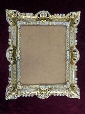 Cadre d'image Art Nouveau or-blanc ancien rectangulaire 45x37 baroque