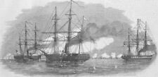 RUSSIA. Royal navy battle with Russian, Kronstadt, antique print, 1855