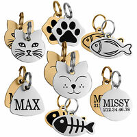 Personalised ID Tags Cat Tag Pet Kitten Puppy Name Custom Engraving Brass Steel