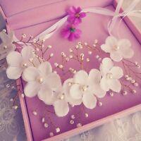 Pearl Garland Bridal Wedding Accessories Hair Headdress Lace Flowers Headband