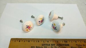 4 Vintage White Ceramic Drawer Pulls with Flowers