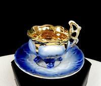 "ANTIQUE VICTORIAN PORCELAIN COBALT BLUE GILT FLORAL FOOTED MINI 2"" CUP & SAUCER"