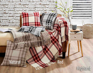100% Cotton Highland Tartan Check Sofa / Bed Throw  or Cushions