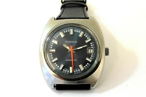1970s LARGE GENTS STEEL ROMANA SWISSONIC ELECTRONIC WATCH IN EXCELLENT CONDITION