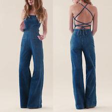 Sexy New Women Fashion Vintage Backless Cross Denim Jumpsuit Wide Leg Playsuit