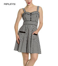 Hell Bunny Rockabilly Mini Dress Pin up Bridget Black White Gingham All Sizes Womens UK Size 8 - XS