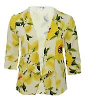 Ladies 16 - 26 Yellow Floral New Blazer Open Jacket Top Bnwt Womens *LICK*