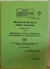 Hilgar & Watts (Military) No. 2 Theodolite. Operating Handbook.