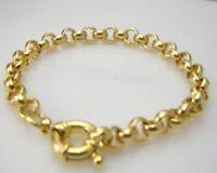 Bracelet en or jaune 14 carats  chaîne  solide bracelet de 18 cm