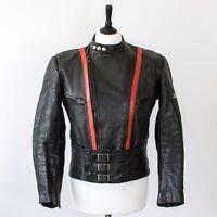 True Vintage Distressed Black Leather Biker Jacket Grunge Punk Large Chest 42