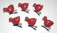 6 Vintage Red Bird Cardinal Clip On Ornaments Christmas Pat Olson In The Woods