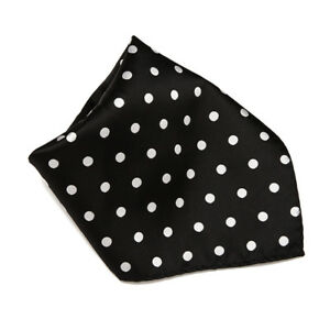 BLACK with WHITE Polka Dots Handkerchief Pocket Square Hanky Men's Handkerchiefs