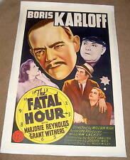 '50 FATAL HOUR one sheet poster (linen) BORIS KARLOFF