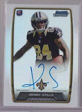 2013 Bowman Chrome Kenny Stills On Card Auto NFL Uniform SSP Rc 25 Print Run Rc