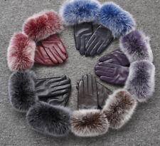 Real Leather Elegant Warm Gloves With Fox Fur Cuffs