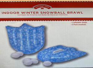 Indoor Winter Snowball Brawl - 2 Inflatable Shields & 6 Plush Snowballs Fam Game