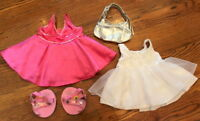 Build a Bear Outfit Set Pink and White Ball Gown Fancy Dresses and Shoes Purse