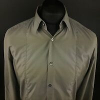 HUGO BOSS Mens Formal Shirt 41 16 (LARGE) Long Sleeve Grey SLIM FIT Cotton