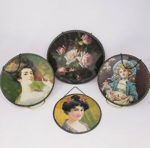 CHIMNEY FLUE COVER Lot of 4 - Roses, Lady w Fan, Girl w Bonnet, Woman w Flowers