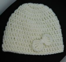 HANDMADE CROCHET BABY HAT WITH BOW WHITE FOR BABY GIRL