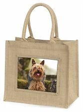 Yorkshire Terrier Dog Large Natural Jute Shopping Bag Christmas Gift , AD-Y84BLN