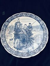 "Vintage Delft Blue Wall Charger Plate 15"" Diameter Holland The Horse Scene MINT"