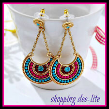 EARRINGS bohemian beads  pierced Dangle Pink Blue Silver Ethnic Tribal  Design