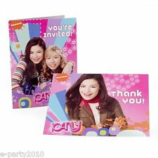 iCARLY INVITATIONS AND THANK YOU NOTES (8) ~ Birthday Party Supplies Stationery