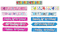 4th Birthday Banner Girl Boy Happy Birthday Animal Party Decorations Pink Blue