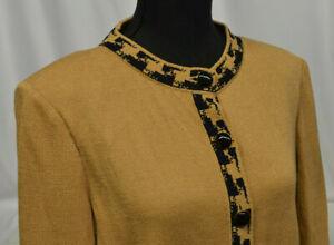 ST JOHN Size M Tan Brown Santana Knit Blazer ButtonUp Black Trim Jacket Cardigan