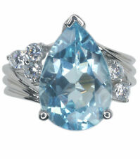 Topaz Pear Cocktail Sterling Silver Fine Rings
