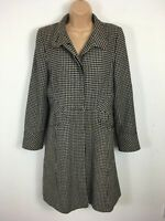 WOMENS JANE NORMAN BLACK CREAM CHECK STYLE FITTED BUTTON UP WINTER COAT UK 12