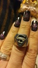 Stainless Steel Superman Heavy Ring Sz 10