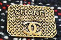 💄One Auth Chanel button 1 pieces emblem  metal cc logo 57/37  mm  bronze