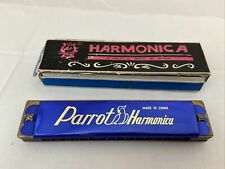VINTAGE PARROT HARMONICA 16 HOLES  -C  With Original Box
