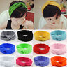 Girls Kid Baby Child Cotton Bow Hairband Headband Stretch Turban Knot Head Wrap