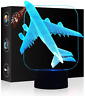 Christmas Gift Plane 3D Illusion Night Light Beside Table Lamp, Jawell 7 Colors
