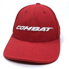 Combat Snapback Cap Red Mesh Trucker Baseball Hat Adult Size 7 3/8 - 8 L/XL