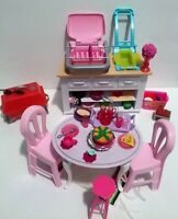 Barbie Kitchen Furniture And Accessories Lot Table Chairs Stool Deep Fryer Grill