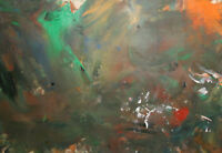 Vintage European oil painting abstract composition