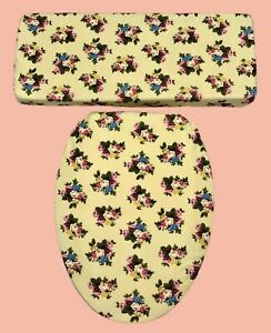 Mustard Yellow Pink Rose Blue Floral  Bathroom Decor Toilet Seat Lid Cover Set