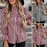 Women Long Sleeve Check Plaid Top Tee Shirt Frill Elastic Cuffs Plus Size Blouse