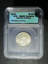 1941 South Africa Shilling, ICG MS 60 Details - Scratched