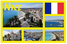 NICE, FRANCE - SOUVENIR NOVELTY FRIDGE MAGNET - FLAGS / SIGHTS - GIFT / NEW