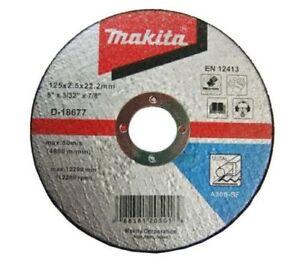 """MAKITA D-18677 125mm (5"""") Metal Cutting Discs 10 Pack 125mm x 2.5mm x 22.23"""