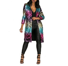Womens Sequin Cardigan Jacket Long Sleeve Bling Shiny Coat Stage Show Outwear