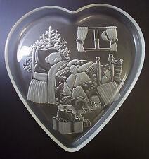 Mikasa glass Christmas Dream heart shaped platter teddy bed tree toys
