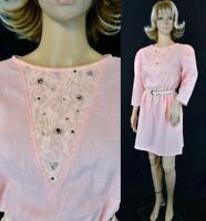 VTG 70s 80s Mini Chapter Two Peach Lace Rhinestone Sheath Secretary Dolly Dress