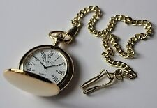 "Men's Pocket Watch Roman Numerals 14"" Gold colour chain & clip + Spare Battery"