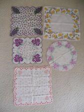 New listing Lot of 5 Vintage Ladies Hankies, Handkerchiefs, Purple Floral & Hearts